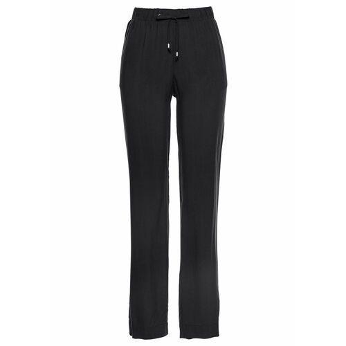 Spodnie 7/8 bez zamka w talii, z bengaliny biały marki Bonprix