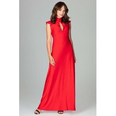 5476bc2df1 suknie sukienki szykowna czerwona plisowana sukienka midi z dlugim ...