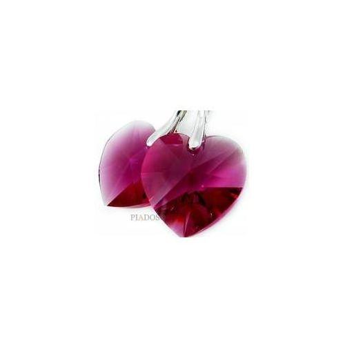 Kolczyki swarovski fuchsia heart srebro certyfikat marki Arande