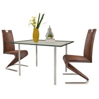 Vidaxl zestaw 2 krzeseł brązowych ze sztucznej skóry z podstawą w kształcie u