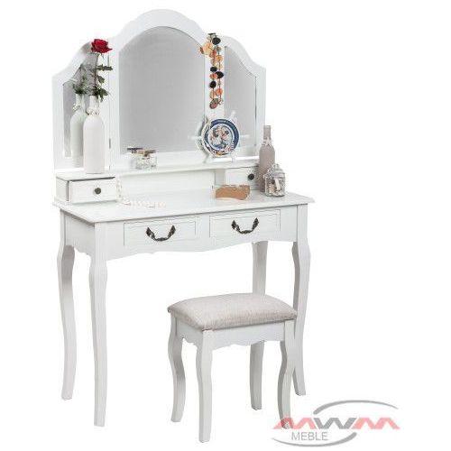 Meblemwm Toaletka kosmetyczna 145 z lustrem biała + taboret