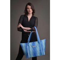 Duża torba pikowana z materiału w kolorze błękitno-turkusowym - KOLEKCJA OMBRE