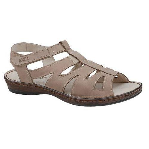 Sandały comfort 2162 beż wosk beżowe na haluksy tęgość h, Axel