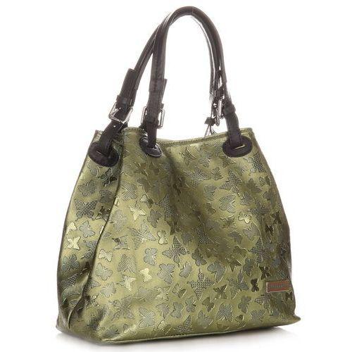 Vittoria gotti Eleganckie torebki skórzane shopper we wzór motyli zielony (kolory)